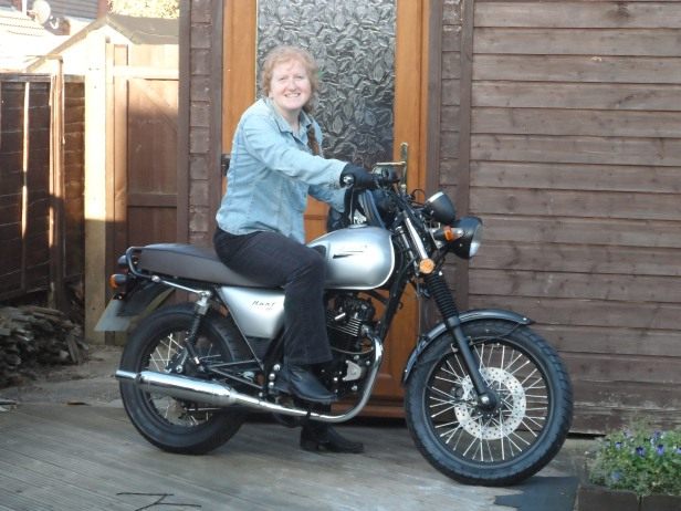 Kay on Bullit Hunt motorbike