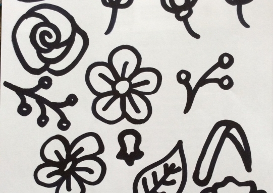 Flower shapes for lasercutting, drawn with a thick black pen