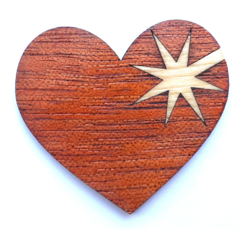 laser-cut marquetry heart