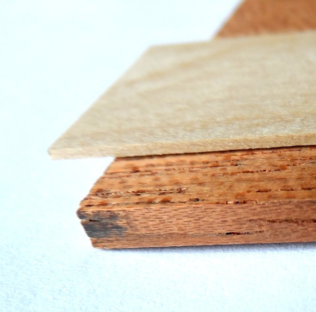 1/8in mahogany wood sheet and 1/32in boxwood strip