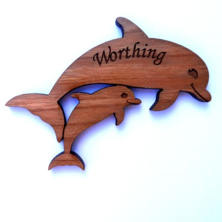 Laser-cut wooden fridge magnet puffin - dolphins