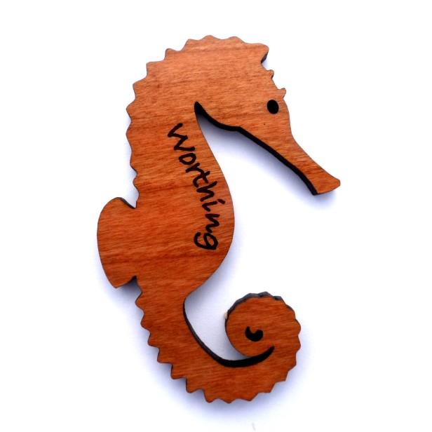 Laser-cut wooden fridge magnet - Worthing seahorse