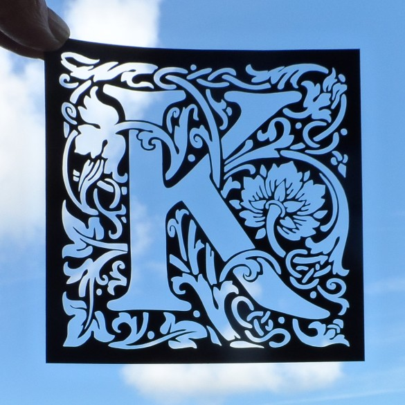 "William Morris arts and crafts style letter ""K"" laser cut card topper - black"