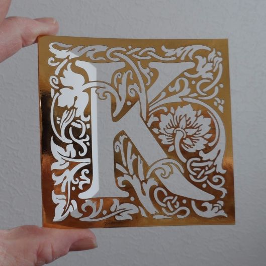"William Morris arts and crafts style letter ""K"" laser cut card - gold"