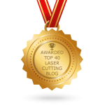 """image of a medal saying """"awarded top 40 laser cutting blog"""""""
