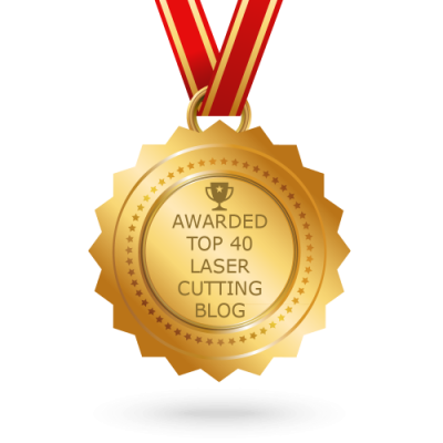"Medal saying ""Awarded top 40 laser cutting blog"""