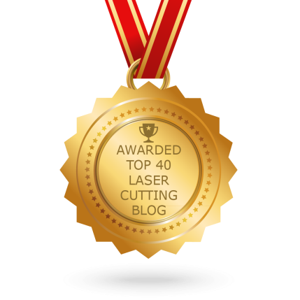 Medal saying 'Awarded top 40 laser cutting blog'