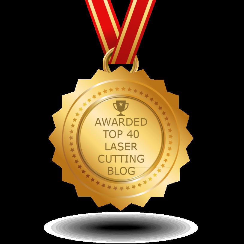 "Medal saying ""Awarded top 40 laser cutting blog"""