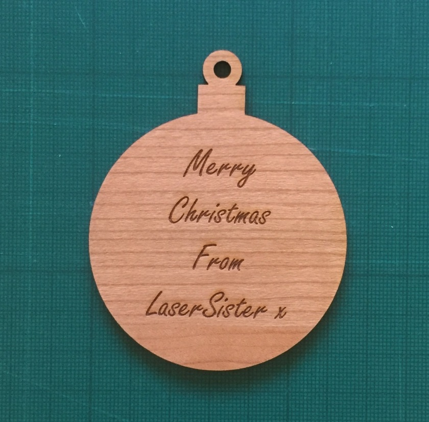 laser cut wooden Christmas tree bauble