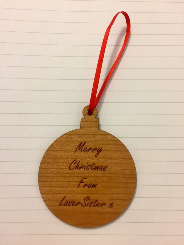 laser cut simple wooden bauble