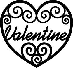 swirly filigree valentine heart for lasercutting