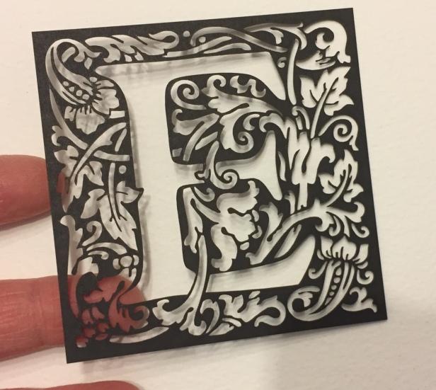 William Morris style laser cut birthday card: E