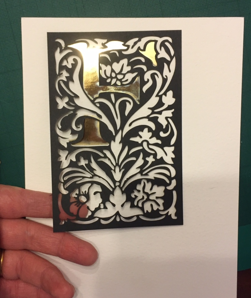 william morris style laser cut birthday card F