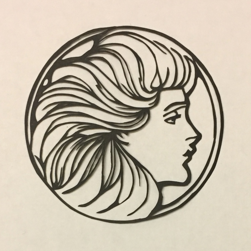 art nouveau papercutting - profile
