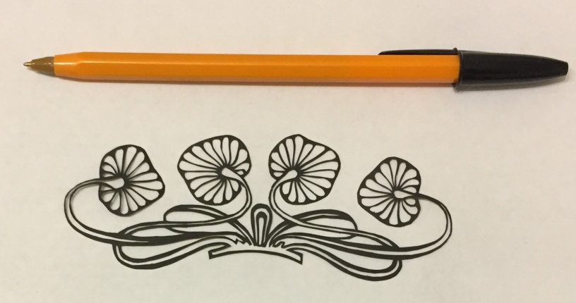 decorative vector ornament papercutting 009 with pen for scale