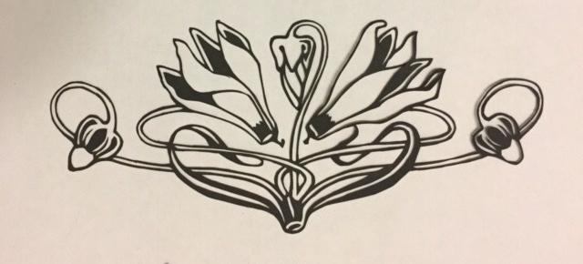 Latest papercutting designs - art nouveau flower