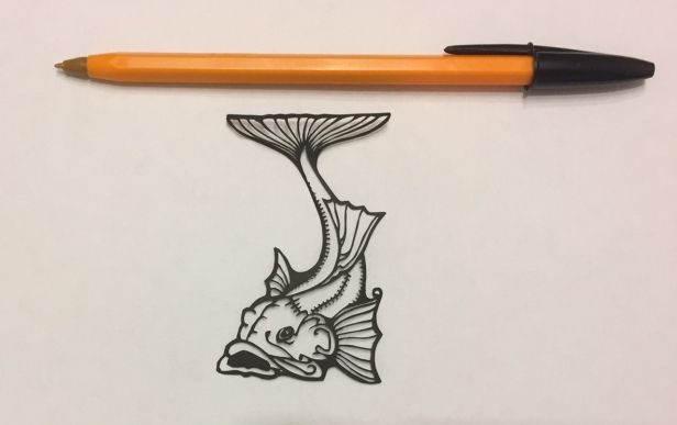 fish papercut 017 with pen for scale - kay vincent