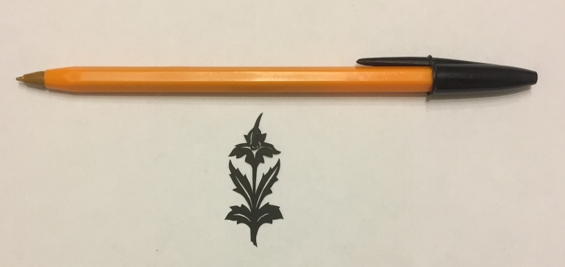 flower papercut 019 with pen for scale
