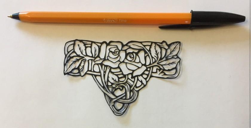 art nouveau style papercut 035 with pen for scale