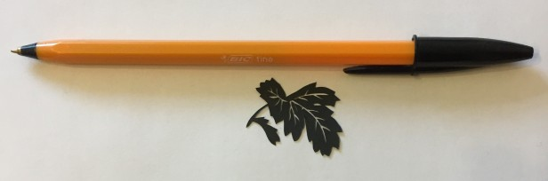 leaf papercut 037 with pen for scale
