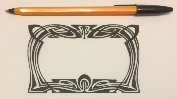 art nouveau style papercut 042 with pen for scale